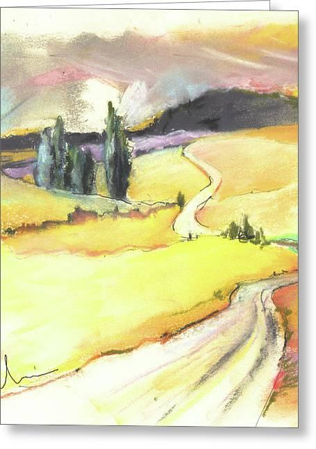 Del Drawings Greeting Cards - Ribera del Duero in Spain 03 Greeting Card by Miki De Goodaboom