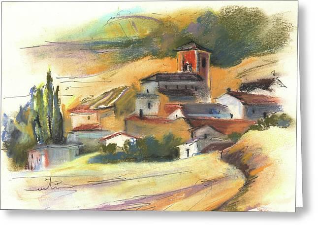 Del Drawings Greeting Cards - Ribera del Duero in Spain 04 Greeting Card by Miki De Goodaboom