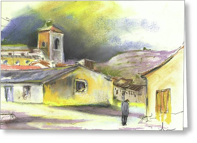 Townscape Drawings Greeting Cards - Ribera del Duero in Spain 05 Greeting Card by Miki De Goodaboom