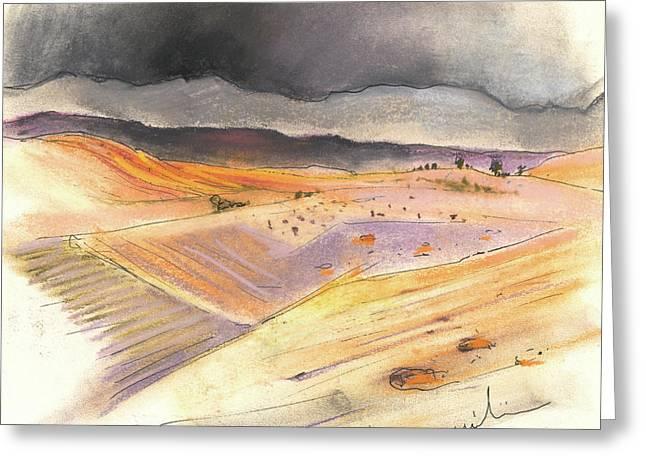 Del Drawings Greeting Cards - Ribera del Duero in Spain 08 Greeting Card by Miki De Goodaboom