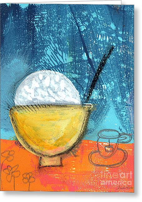Cup Mixed Media Greeting Cards - Rice and Tea Greeting Card by Linda Woods