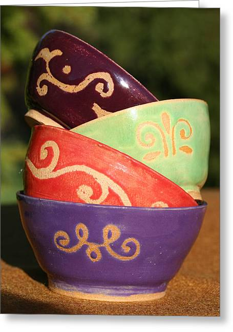 Soup Bowl Ceramics Greeting Cards - Rice bowl set Greeting Card by Monika Hood