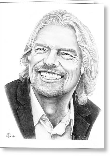 Pencil Drawing Greeting Cards - Richard Branson Greeting Card by Murphy Elliott