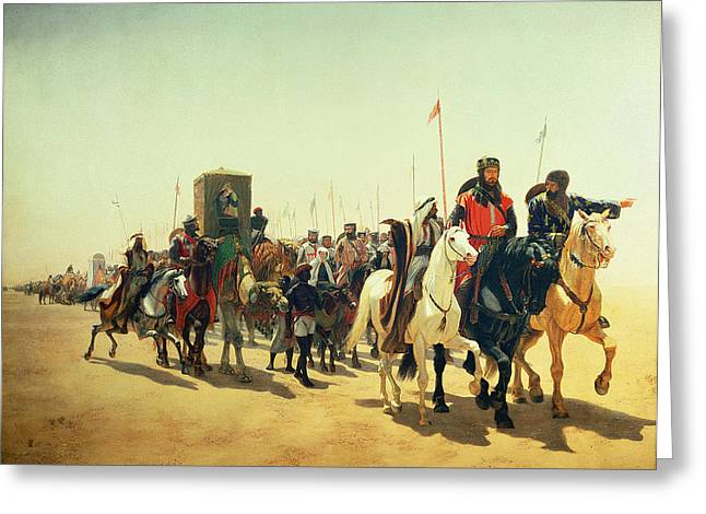Convoy Greeting Cards - Richard Coeur de Lion on his way to Jerusalem Greeting Card by James William Glass