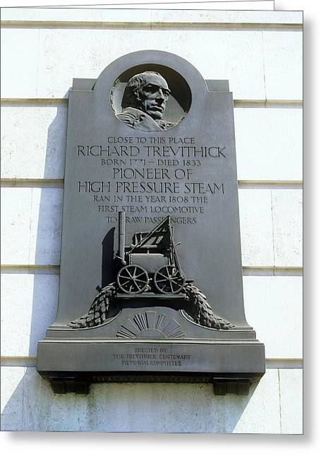 Trevithick Greeting Cards - Richard Trevithick Plaque Greeting Card by Martin Bond