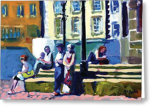 Neil Mcbride Greeting Cards - Richmond Bus Stop by Neil McBride Greeting Card by Neil McBride