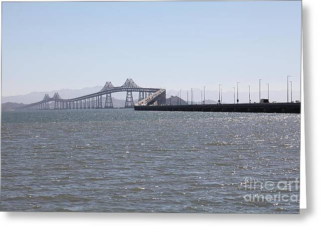Richmond Bridge Greeting Cards - Richmond-San Rafael Bridge in California - 5D18435 Greeting Card by Wingsdomain Art and Photography