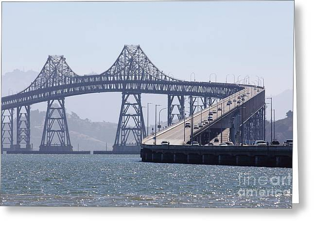 Richmond Bridge Greeting Cards - Richmond-San Rafael Bridge in California - 5D18440 Greeting Card by Wingsdomain Art and Photography