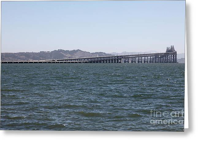 Bay Bridge Greeting Cards - Richmond-San Rafael Bridge in California - 5D18457 Greeting Card by Wingsdomain Art and Photography