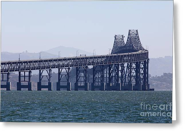Richmond Bridge Greeting Cards - Richmond-San Rafael Bridge in California - 5D18461 Greeting Card by Wingsdomain Art and Photography