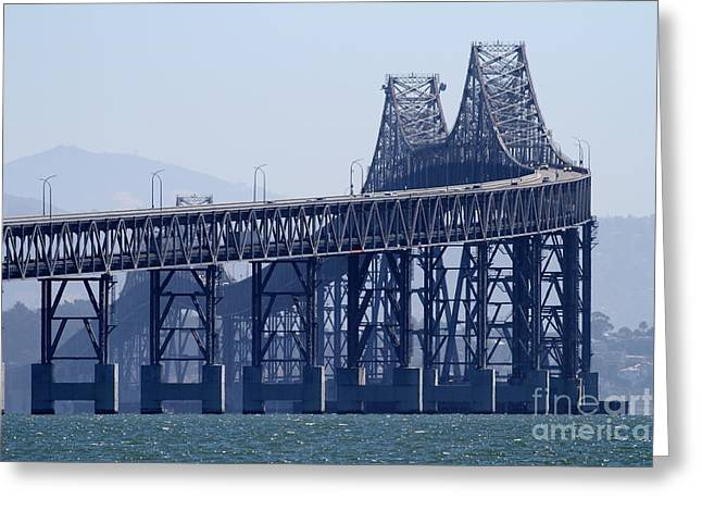 Richmond Bridge Greeting Cards - Richmond-San Rafael Bridge in California - 7D18536 Greeting Card by Wingsdomain Art and Photography