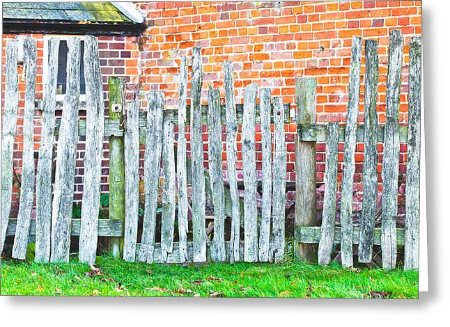 Rickety Fence Greeting Card by Tom Gowanlock