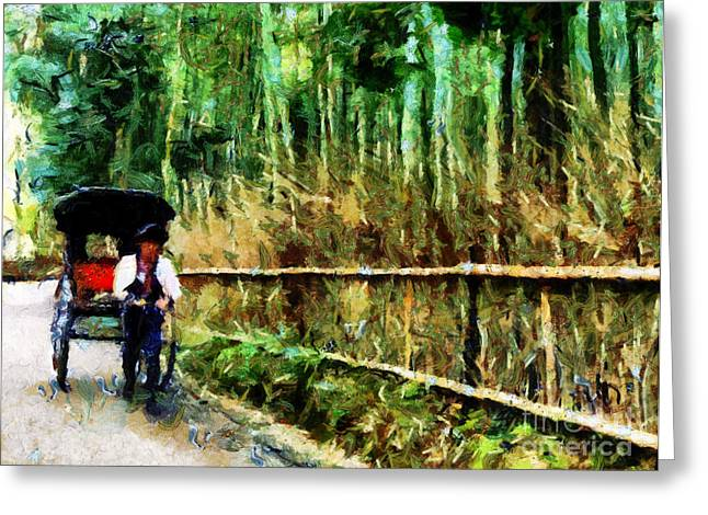 Bamboo Fence Digital Greeting Cards - Rickshaw in a Bamboo Forest Greeting Card by Cathleen Cawood