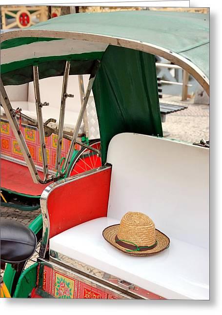 Cart Driving Greeting Cards - Rickshaw Greeting Card by Valentino Visentini