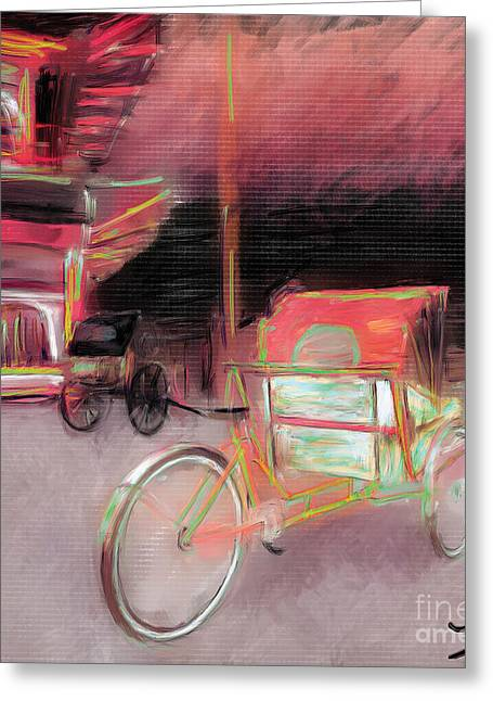 Rosy Hall Greeting Cards - Rickshaws Idling Greeting Card by Rosy Hall