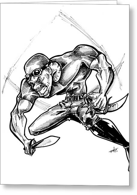 Slam Drawings Greeting Cards - Riddick Greeting Card by Big Mike Roate