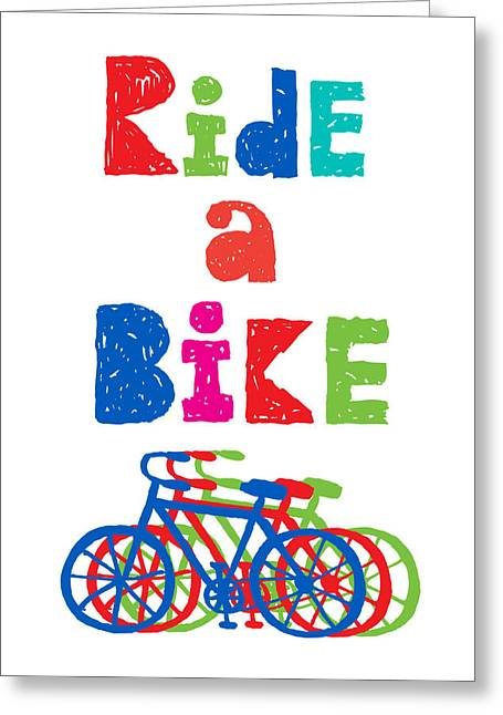 Clunker Greeting Cards - Ride a Bike - sketchy  Greeting Card by Andi Bird