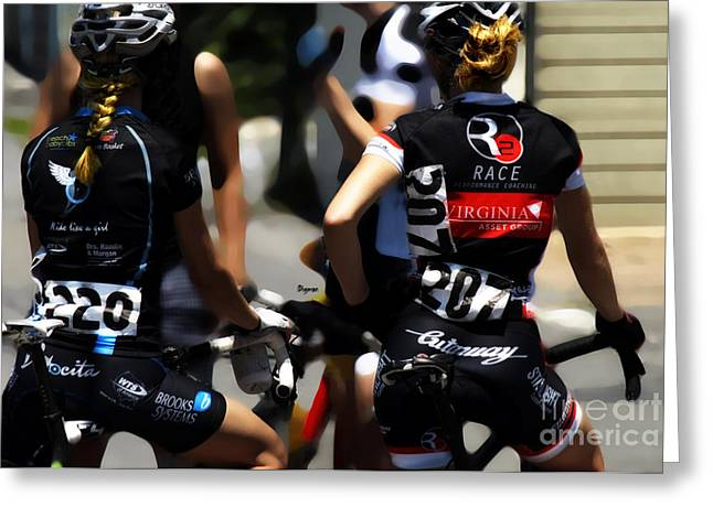 Female Athletics Greeting Cards - Ride like a girl  Greeting Card by Steven  Digman