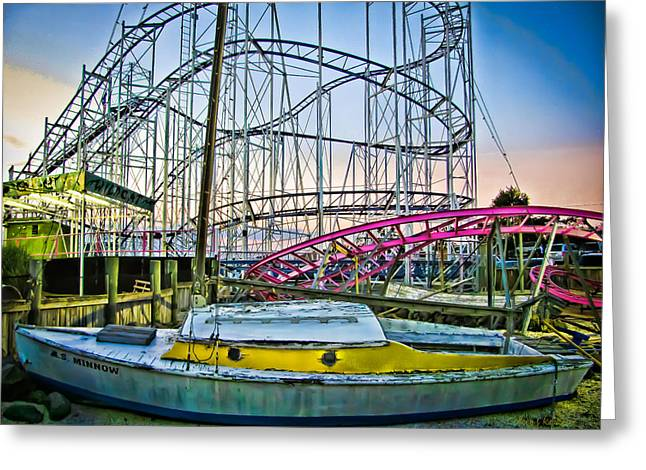 Minnows Greeting Cards - S.S. Minnow - Wild Cat Amusement Rides Greeting Card by Colleen Kammerer
