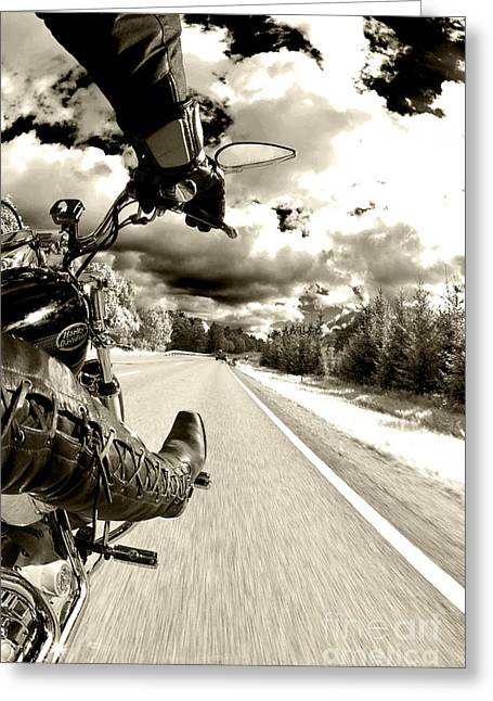 Peg Greeting Cards - Ride to Live Greeting Card by Micah May