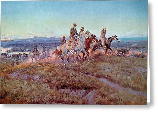 Landscapes Greeting Cards - Riders of the Open Range Greeting Card by Charles Marion Russell