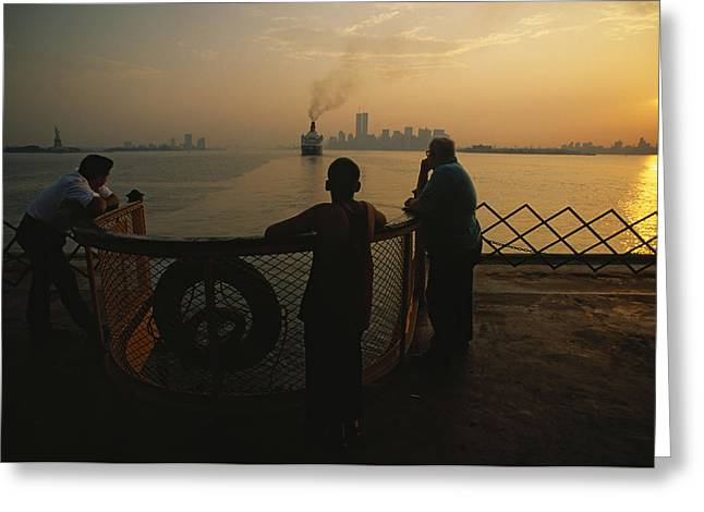 Staten Island Ferry Greeting Cards - Riders On The Staten Island Ferry Gaze Greeting Card by Maria Stenzel