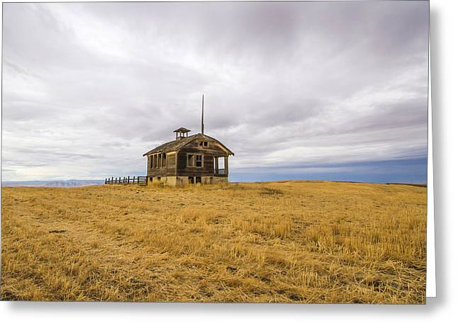 Abandoned School House. Greeting Cards - Ridge Top School Greeting Card by Jean Noren
