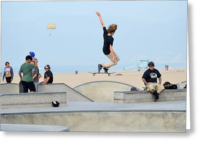 Skateboarding Greeting Cards - Riding Air Greeting Card by Fraida Gutovich