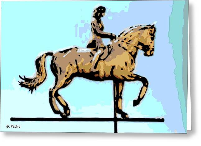 Weathervane Digital Art Greeting Cards - Riding Copper Greeting Card by George Pedro