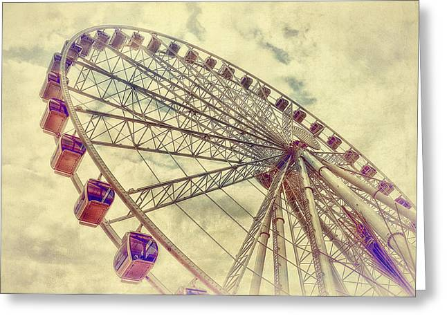 Ferris Wheels Greeting Cards - Riding High Greeting Card by Kathy Jennings