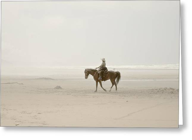 Manzanita Greeting Cards - Riding On The Beach Greeting Card by Craig Perry-Ollila