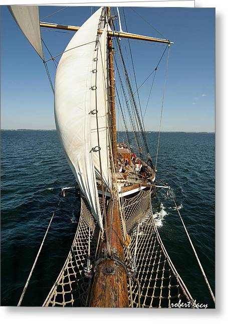 Tall Ships Greeting Cards - Riding the Breeze Greeting Card by Robert Lacy