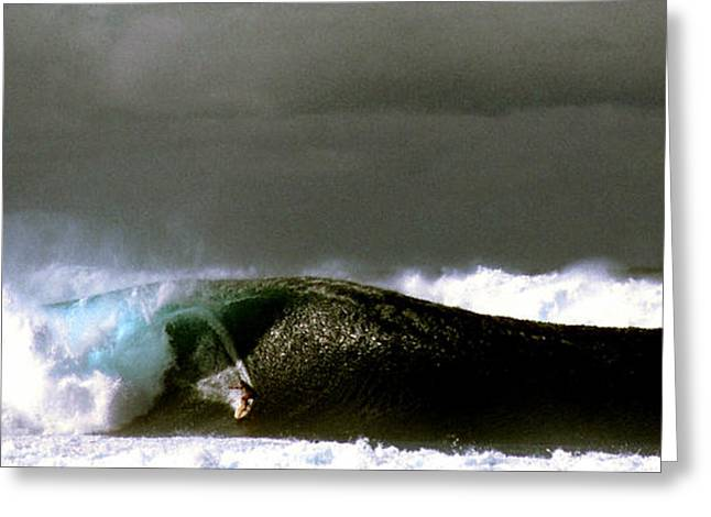 Banzai Pipeline Greeting Cards - Riding the Pipeline Storm Approaching Greeting Card by Thomas R Fletcher