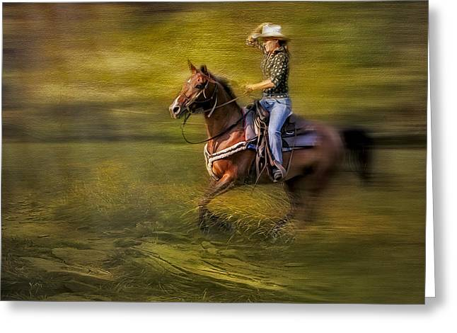 Riding Thru The Meadow Greeting Card by Susan Candelario