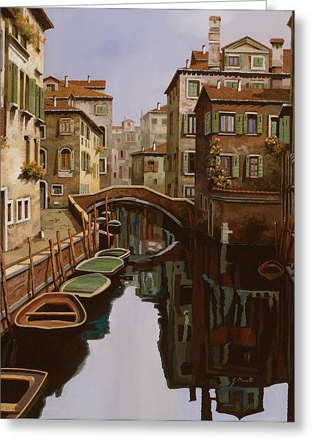 Venezia Greeting Cards - Riflesso Scuro Greeting Card by Guido Borelli
