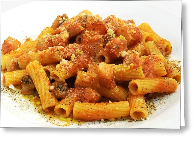 Cut-outs Greeting Cards - Rigatoni allamatriciana Greeting Card by Fabrizio Troiani