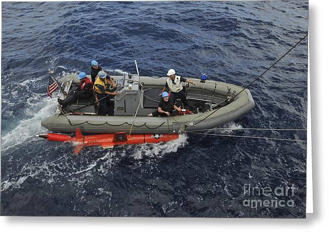 Inflatable Boats Greeting Cards - Rigid-hull Inflatable Boat Operators Greeting Card by Stocktrek Images