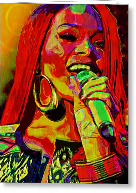 Artistic Expression Greeting Cards - Rihanna 2 Greeting Card by  Fli Art