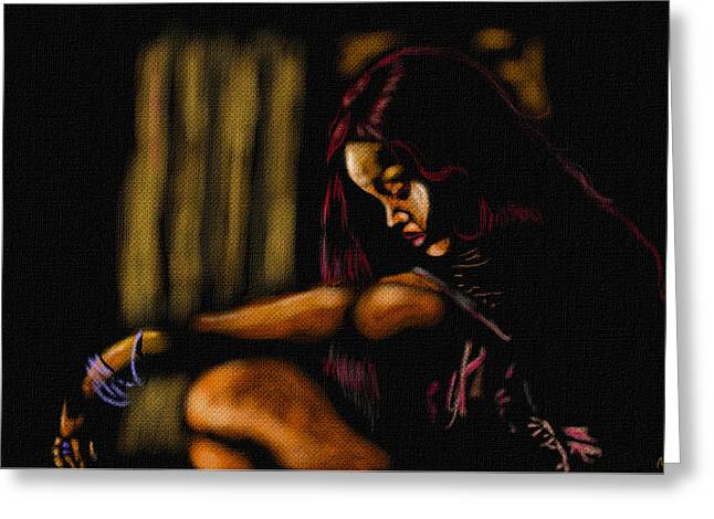 Rihanna Greeting Card by Anthony Crudup