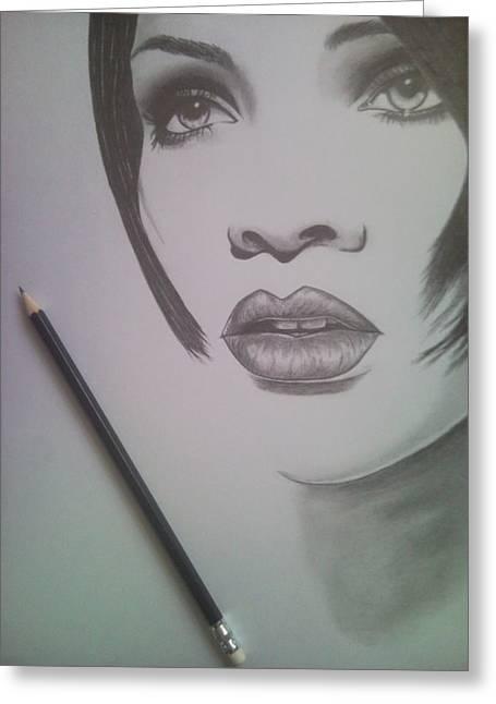 Rihanna Greeting Card by Lucia Vratiakova