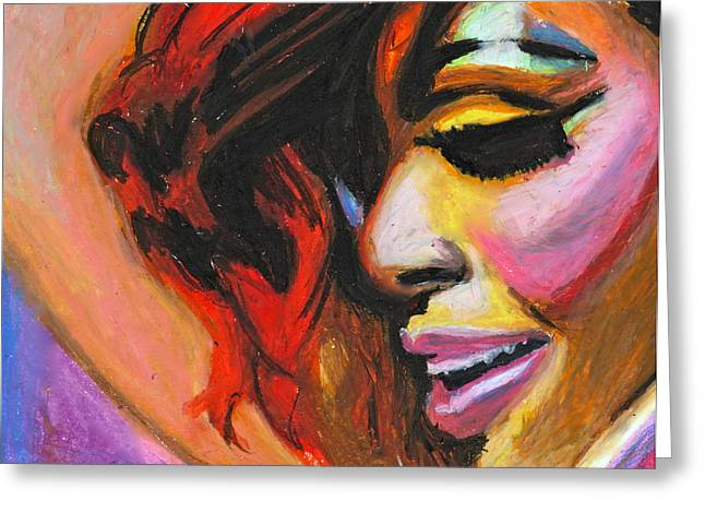 Pop Singer Pastels Greeting Cards - Rihanna Smile Greeting Card by Siobhan Bevans