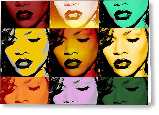 Warhol Greeting Cards - Rihanna Warhol by GBS Greeting Card by Anibal Diaz