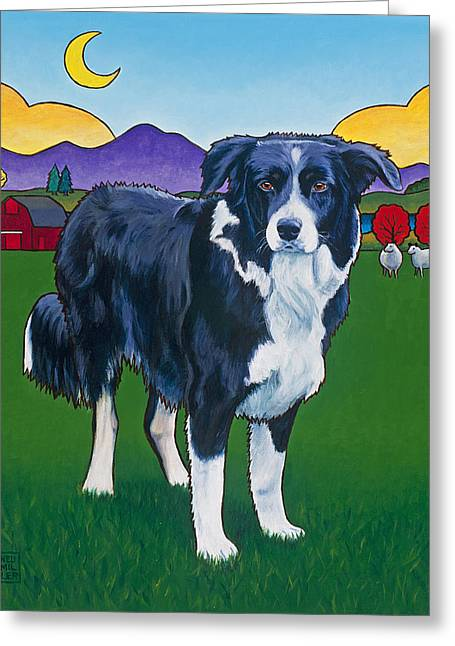 Collie Paintings Greeting Cards - Riley Greeting Card by Stacey Neumiller