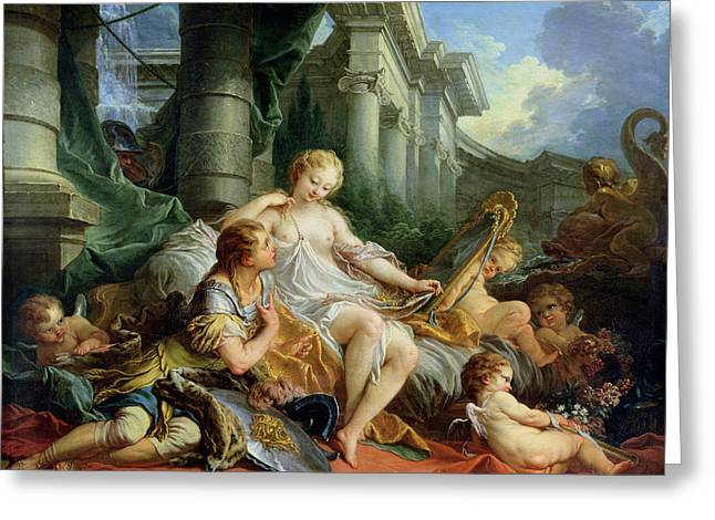 Part Of Greeting Cards - Rinaldo and Armida Greeting Card by Francois Boucher