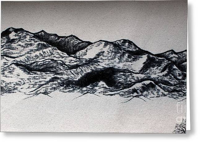 Rincon Drawings Greeting Cards - Rincon Mountains Greeting Card by Rebecca Kennedy