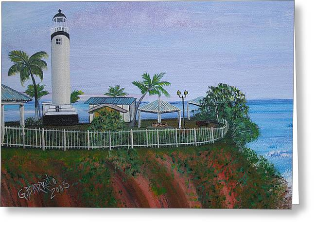 Rincon Paintings Greeting Cards - Rincons Lighthouse Greeting Card by Gloria E Barreto-Rodriguez