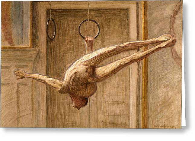 Pastimes Greeting Cards - Ring Gymnast No 2 Greeting Card by Eugene Jansson