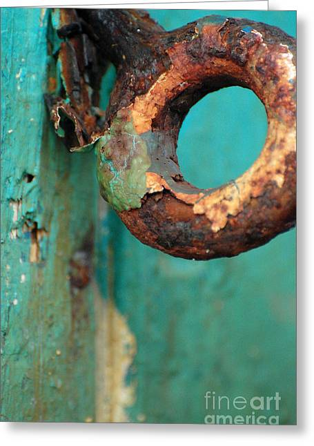 Turquoise And Rust Greeting Cards - Rings of Rust and Blue Greeting Card by AdSpice Studios