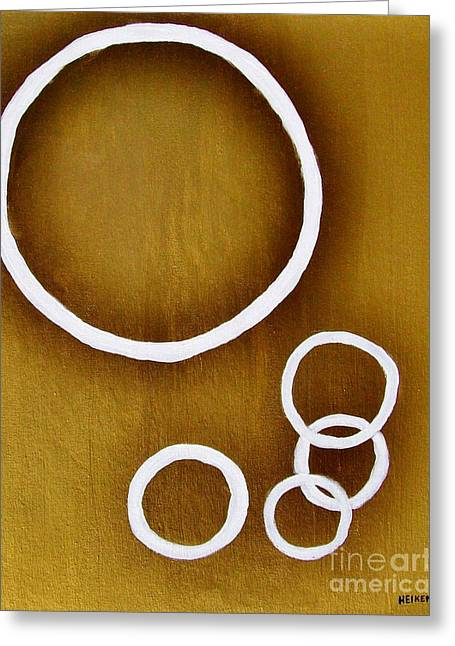 Wrapped Canvas Greeting Cards - Rings On Gold Greeting Card by Marsha Heiken
