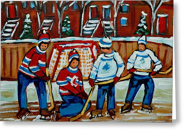 Hockey Memorabilia Greeting Cards - Rink Hockey Montreal Street Scenes Greeting Card by Carole Spandau
